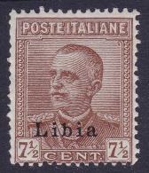 COLONIE ITALIANE LIBIA 1929 VEIII 7 1/2c / Nuovo TL Sassone 78     Prezzo Di Catalogo Euro 15 - Libya