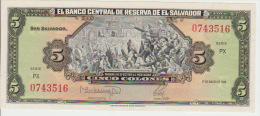 El Salvador 5 Colon 1988 Pick 134b UNC - El Salvador