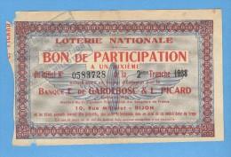 Billet  Loterie Nationale - Bon De Participation - Banque Gardebosc Et Picard - Dijon - 2ème Tranche 1938 - 1/10 - Billets De Loterie