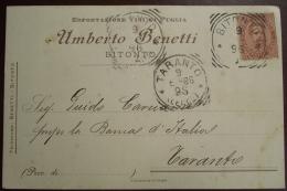 Cartolina Postale,  Umberto Benetti, Bitonto, 1896 - Marcophilia