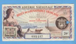Billet Loterie Nationale -1941 - Billet De La Renaissance Française - 26ème Tranche - Billets De Loterie