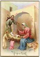 JOYEUX NOËL - A. Collino - Deux Enfants Visitent Jésus Sur Sa Crèche, Joseph, Vierge Marie- écrite - 2 Scans - Noël