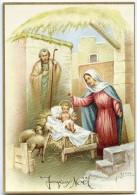 JOYEUX NOËL - A. Collino - Deux Moutons Regardent Jésus Sur Sa Crèche, Joseph, Vierge Marie - écrite - 2 Scans - Noël
