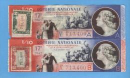2 Billets Loterie Nationale - Pour L'aide Aux Prisonniers Et à Leur Famille - 17ème Tranche 1942 - Billets De Loterie