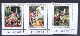 A3570) Rep. Du Congo Gemälde 3 Werte ** Eckrand MNH - Dem. Republik Kongo (1997 - ...)