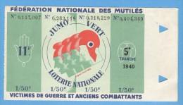 Billet Loterie Nationale - Fédération Nationale Des Mutilés - 5ème Tranche 1940 - 4 X 1/50 - Billets De Loterie