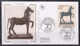 = Le Trésor De Neuvy En Sullias Cheval Bronze Gallo Romain Enveloppe 1er Jour 45 Orléans 8.06.96 N°3014 Loiret - 1990-1999