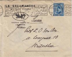 EGYPT 1934 - 20 M Auf Firmen-Brief Mit Logo Salmander Gel.v.Cairo N.Winterthur - Egypt