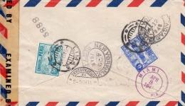 PERU 1945 - 3 Fach Frankierung Auf LP-Brief Mit Zensur Gel.v.Lima über NewYork Nach St.Gallen - Peru