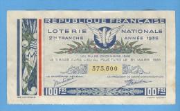 Billet Loterie Nationale - République Française - 2ème Tranche 1935 - 100 Francs - Billets De Loterie