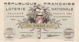 BILLET DE LOTERIE NATIONALE FRANCAISE 2° TRANCHE N°026033 Série 15 Tirage Du 15 Octobre 1934 Illustration Henry CHEFFER - Billets De Loterie