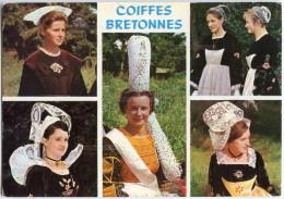 Coiffes Bretonnes - Chateauneuf, Lorient, Le Faouet, Pont L´Abbé, Quimperlé - Folklore - écrite Et Timbrée - 2 Scans - Bretagne