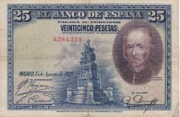 BILLETE DE ESPAÑA DE 25 PTAS DEL AÑO 1928 SIN SERIE (BANKNOTE) - 1-2-5-25 Pesetas