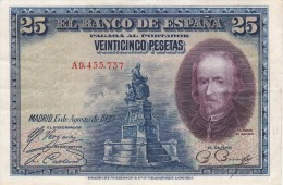 BILLETE DE ESPAÑA DE 25 PTAS DEL AÑO 1928 MBC SERIE A  (BANKNOTE) - [ 1] …-1931 : Eerste Biljeten (Banco De España)