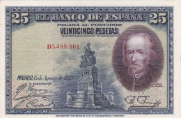 BILLETE DE ESPAÑA DE 25 PTAS DEL AÑO 1928 CALIDAD EBC (XF) SERIE D  (BANKNOTE) - 1-2-5-25 Pesetas