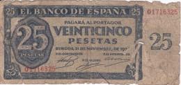 BILLETE DE ESPAÑA DE 25 PTAS DEL 21/11/1936 SERIE H CALIDAD  RC (BANKNOTE) - [ 3] 1936-1975 : Regime Di Franco