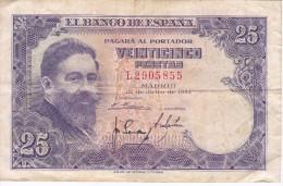 BILLETE DE ESPAÑA DE 25 PTAS DEL AÑO 1954 ISAAC ALBENIZ  SERIE L - 25 Pesetas