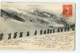 Chasseurs Alpins - 159è D' Infanterie - Marche D' Hiver à Montgenèvre - Superbe Plan Animé - 2 Scans - Régiments