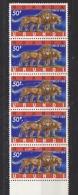 Ruanda-Urundi 1961 50Fr Leeuw / Lion Strip Of 5 (enkele Waarden Met Lichte Kleurbeschadiging Vooraan) ** Mnh  (26400) - Ruanda-Urundi