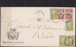 E) 1908 BOLIVIA, NICE LARGE ENVELOPE CIRCULATED, TO FRANCE VIA CALLO XF - Bolivia