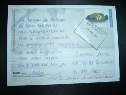 CP MALDIVES Pour FRANCE TP POISSON CEPHALOPHOLIS ARGUS 12 OBL.1 FEB 2011 - Fische