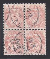 Type BLANC  N° 109 En Bloc De 4 Oblitéré - 1900-29 Blanc