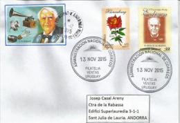 Thomas Alva Edison, Inventeur & Scientifique Américain, Sur Lettre De Montevideo (URUGUAY) Adressée En Andorre - Elettricità