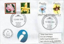 Orchidées (URUGUAY)  Sur Lettre Adressée En Andorre, Avec Timbre à Date Arrivée Au Recto Enveloppe - Uruguay