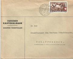 """Motiv Brief  """"Zürcher Kantonalbank, Feuerthalen""""          1939 - Svizzera"""