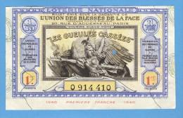 Billet Loterie Nationale - L'union Des Bléssés De La Face - 1ère Tranche 1940 - 1/10 ème - Billets De Loterie