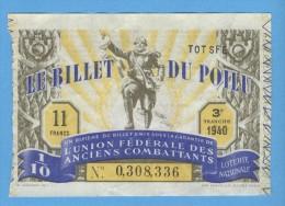 Billet Loterie Nationale - Le Billet Du Poilu - 3ème Tranche 1940 - 1/10 ème - Billets De Loterie