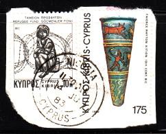 Cyprus Used Scott #547, #RA3 On Piece 175m Faience And Enamel Vase - Chypre (République)