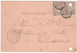 OLANDA - NEDERLAND - Paesi Bassi - 1896 - Briefkaart - Carte Postale - Postal Card - 2 X 2,5 Cent - Viaggiata Da Amst... - Periode 1891-1948 (Wilhelmina)