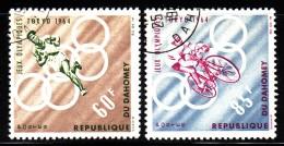 Dahomey Used Scott #191-#192 Set Of 2 Runner, Cyclist - 1964 Summer Olympics - Bénin – Dahomey (1960-...)