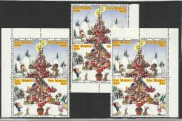 1998 San Marino Saint Marin NATALE  CHRISTMAS 3 Serie Di 4v. In 3 Blocchi MNH** - Natale