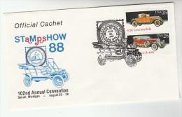 1988 DETROIT Stamp Show USA CARS Stamps EVENT COVER 1928 LOCOMOBILE, PIERCE ARROW CAR Philatelic Exhibition - Event Covers