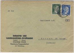 DR - 20+5 Pfg. AH, Zensurbrief I.d. SCHWEIZ, Hamburg-Poppenbüttel - Gossau 1943 - Allemagne