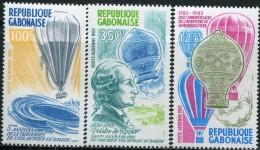 AH0495 Gabon 1983 Hot-air Balloon History 3v MNH - Airplanes