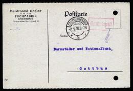 A3576) DR Infla Karte Von Crimmitschau 7.9.23 Mit Barfrankatur - Briefe U. Dokumente