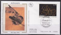 = Série Artistique Oeuvre Originale De Arman Enveloppe 1er Jour 13 Marseille 21.09.96 N°3023 - NBC Rage (1961) - 1990-1999