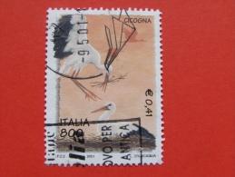 ITALIA USATI 2001 - L´ambiente E La Natura CICOGNA  - RIF. G 1836 LUSSO - 6. 1946-.. Repubblica
