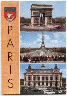 Souvenir De PARIS - Arc De Triomphe, Tour Eiffel Depuis Le Palais De Chaillot, L'Opéra - Dentelée Non écrite - 2 Scans - France