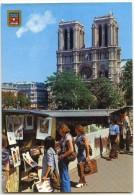 PARIS - Les Bouquinistes Des Quais De La Seine, La Façade De Notre-Dame - écrite Et Timbrée - 2 Scans - La Seine Et Ses Bords