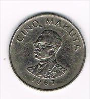 ***  CONGO DEM. REP. 5  MAKUTA  1967 - Congo (Democratic Republic 1964-70)