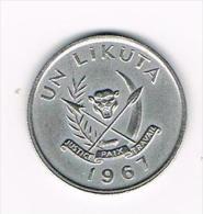 ***   CONGO DEM. REP. 1 LIKUTA  1967 - Congo (Rép. Démocratique, 1964-70)