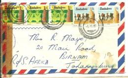 CARTA 1987 REGISTERED   ESCANER - Zimbabwe (1980-...)