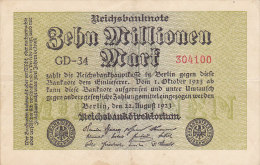 Zehn Millionen Mark 10 000 000 - Berlin 1923 - [ 3] 1918-1933 : République De Weimar