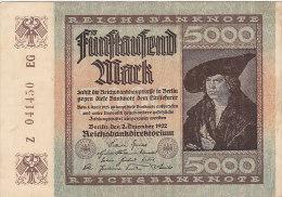Fünftausend 5000 Mark - Berlin 1922 - [ 3] 1918-1933 : République De Weimar