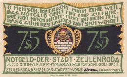 Zeulenroda - 75 Pfennig Notgeld 1921 (FDC) - [11] Emissions Locales