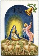 JOYEUX NOËL - Un Ange Sonne Une Cloche, Moutons Contemplent Jésus Devant Marie Nimbée De Lumière - Non écrite - 2 Scans - Noël